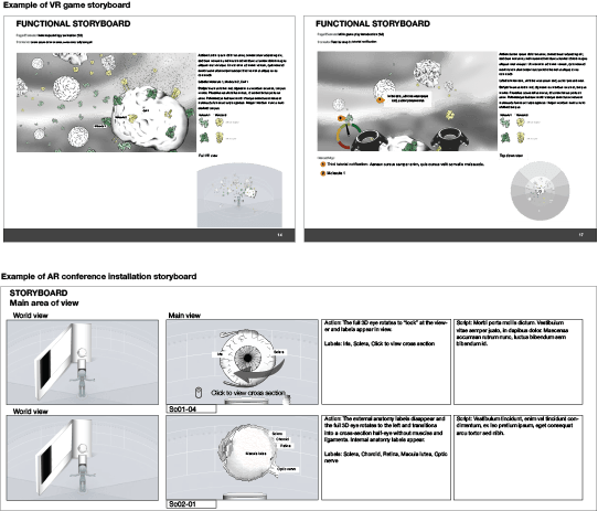 Examples of storyboarding for a VR game. Image by Andrea Zariwny.