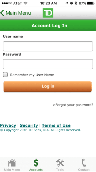TD Ameritrade login screen using underlines.