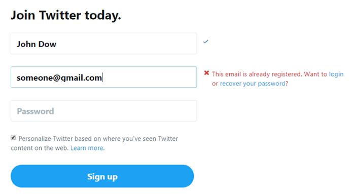 Twitter mencegah pengguna memasukkan email yang salah.  Layanan menyarankan tindakan - Anda dapat masuk ke akun atau mengatur ulang kata sandi.