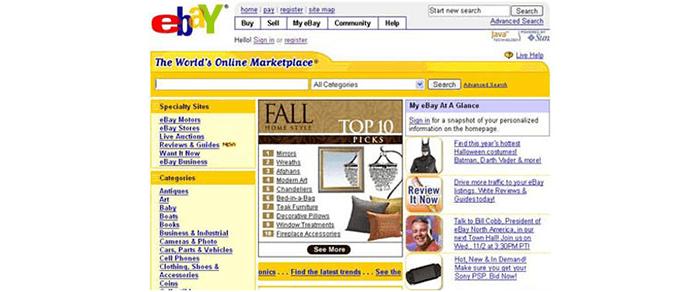 eBay sebelum desain ulang (warna kuning mendominasi dalam desain).