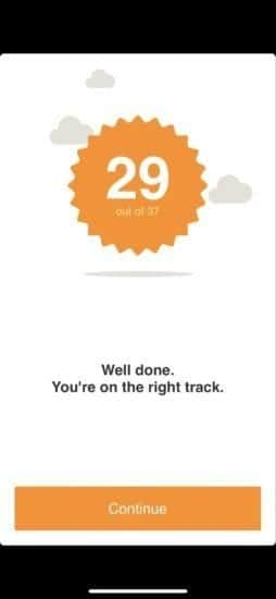 Screenshot of a badge indicating a person has received 29 out of 37 points for a quiz.