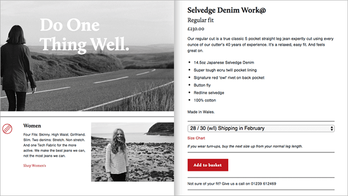 On left, web page with photo of woman walking on road and another woman at the beach. On right, retail website showing product page for jeans.