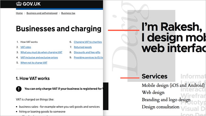 Left: Gov.UK web page showing VAT tax information  Right: Designer's website showing the services he provides