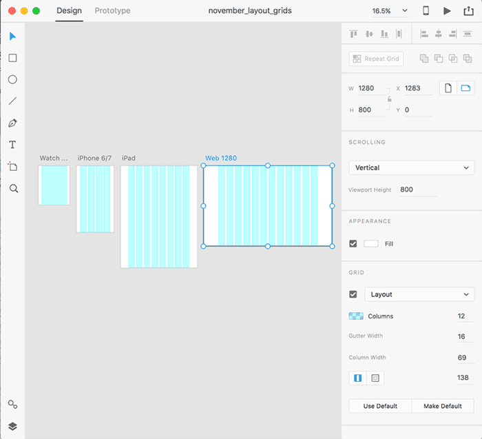Use grid layout when designing web experiences.
