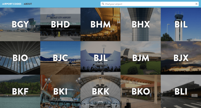 Every airport has a unique three-letter code. Lynn's site features over 1000 airports and their codes from almost 200 countries.