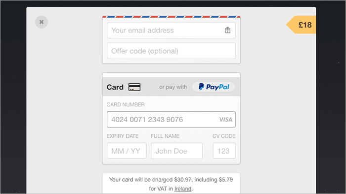 Web page to enter credit card payment details