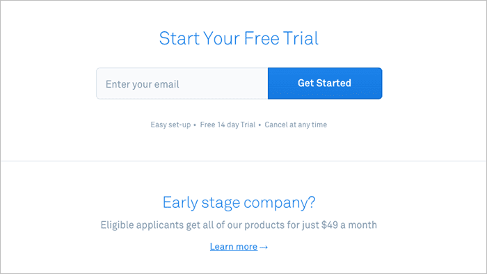 Webpage with call-to-action for Start your Free Trial and entry box to enter email