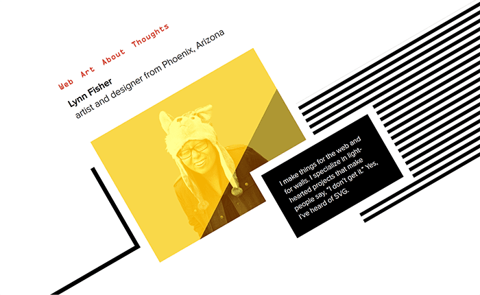 The site refresh allowed Lynn to experiment with CSS Grid, blend modes, and filters