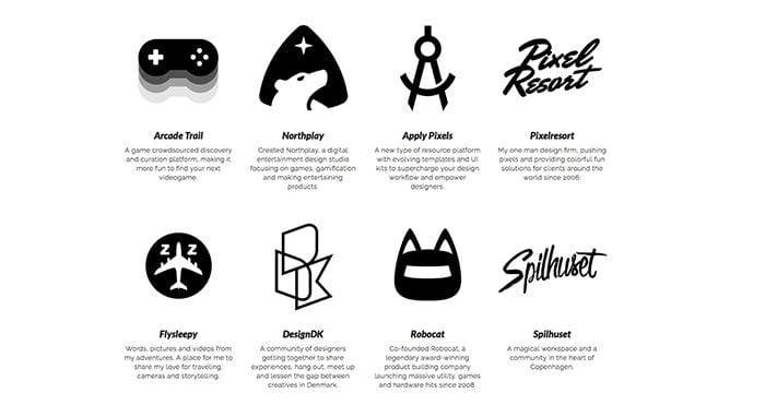 Screenshot of logos for all of Michael Flarup's side projects.