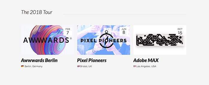 Screenshot of Awwwards Berlin, Pixel Pioneers and Adobe Max side projects.