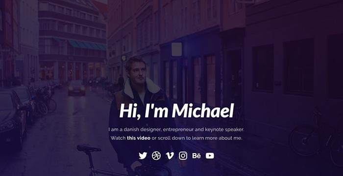 Homepage of Michael's personal website.