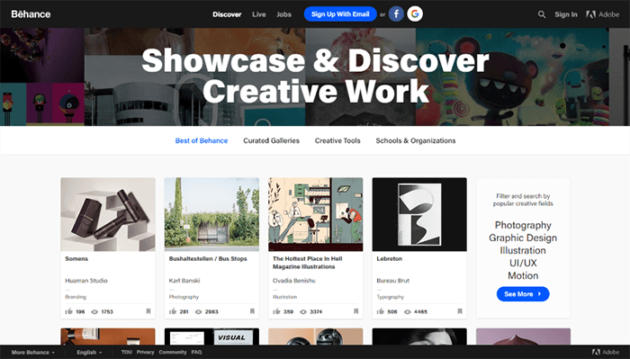 Screenshot of BeHance, where you can see a variety of designs.