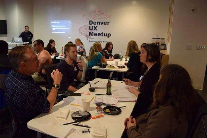 Image of UX designers at a meetup in Denver.
