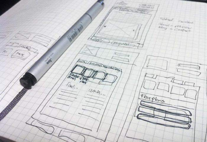 Sketch of mobile web layout in a notebook