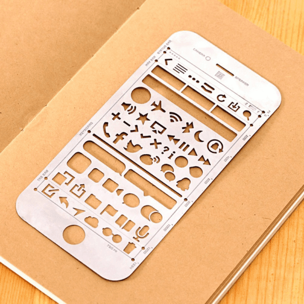 Stencil of mobile phone icons to use for sketching.