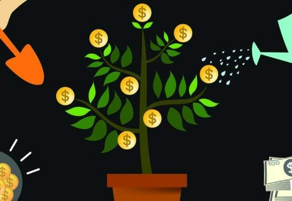 illustration of people gardening a money tree