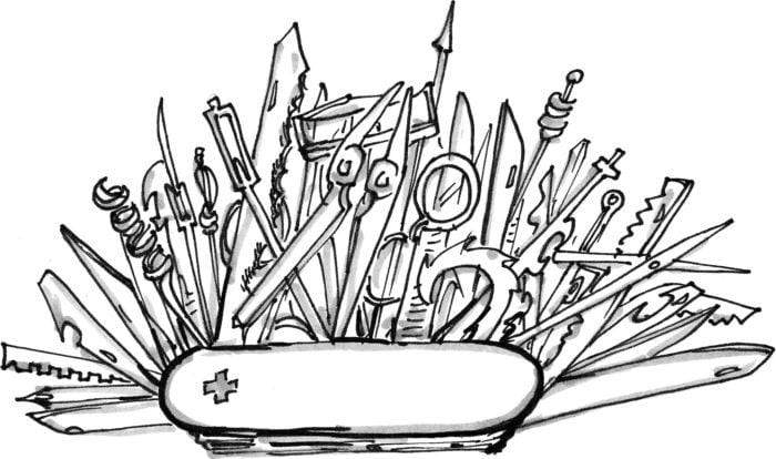 drawing of a swiss army knife