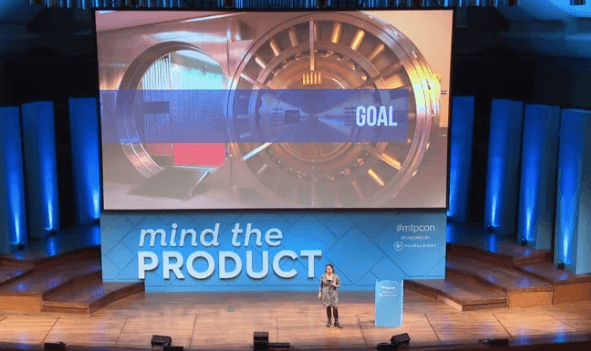 Laura Klein speaking at Mind the Product tech conference.