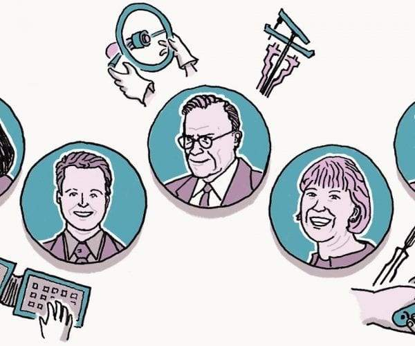 Illustration showing a few design pioneers in circles