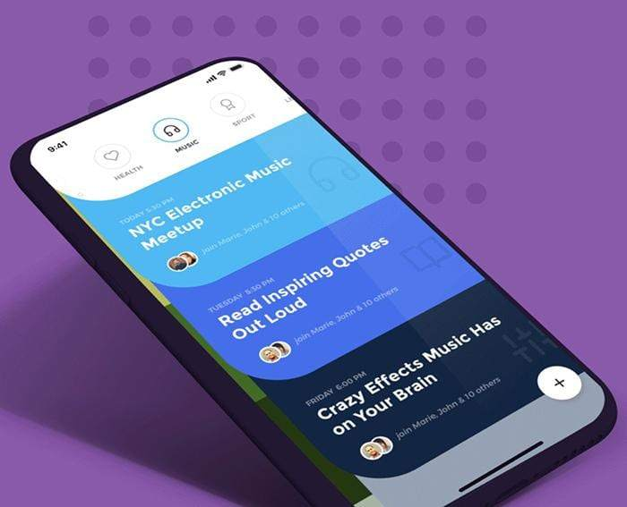 A rendered demonstration of the Social Meet Up UI Kit used in a social app to display different events and event categories.