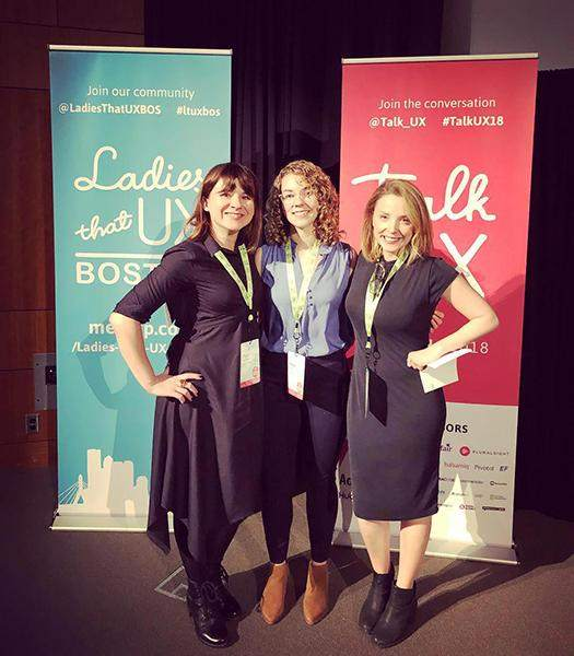 Katie Langerman (center) stands with Lara Cavezza and Olga V. Perfilieva at the Talk UX conference.