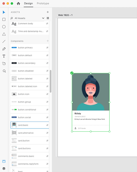 The interface for the master components editor in the Semantic UI kit for Adobe XD.