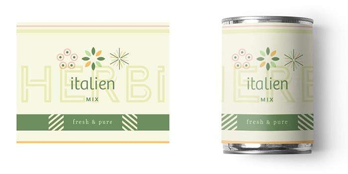 Packaging design for HERBi showcasing fonts included in the kit.