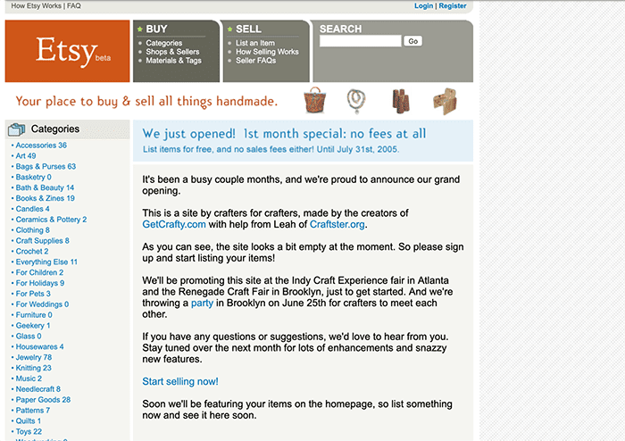 A screenshot of the Etsy homepage user interface when the site was first launched in 2005.