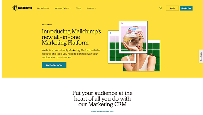Mailchimp's e-commerce landing page uses an accessible brand voice that is consistent with its communications for email marketing services.