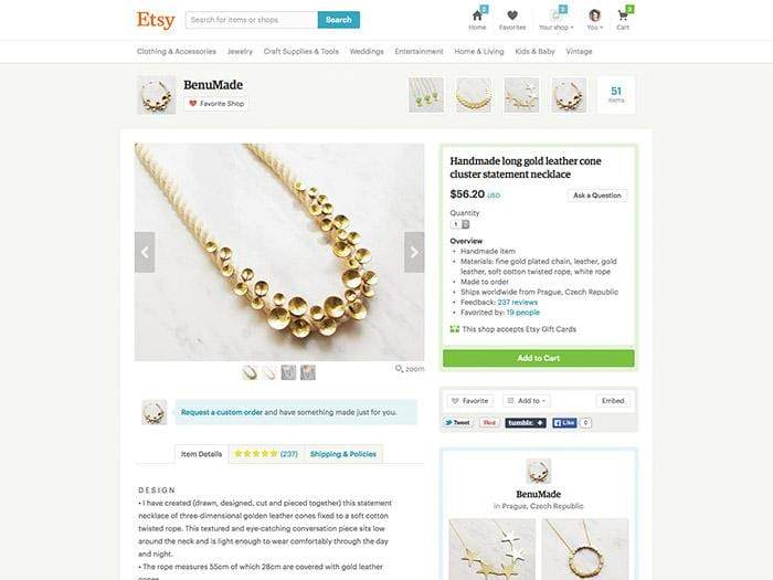 An example of a product listing for a handmade necklace listed on Etsy in 2015.