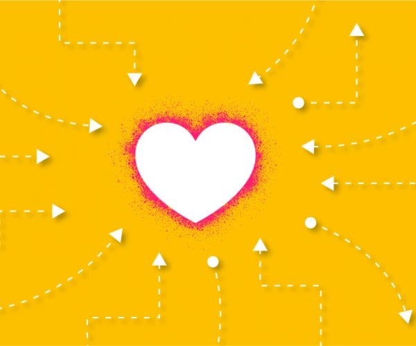 Heart in the middle with a yellow background