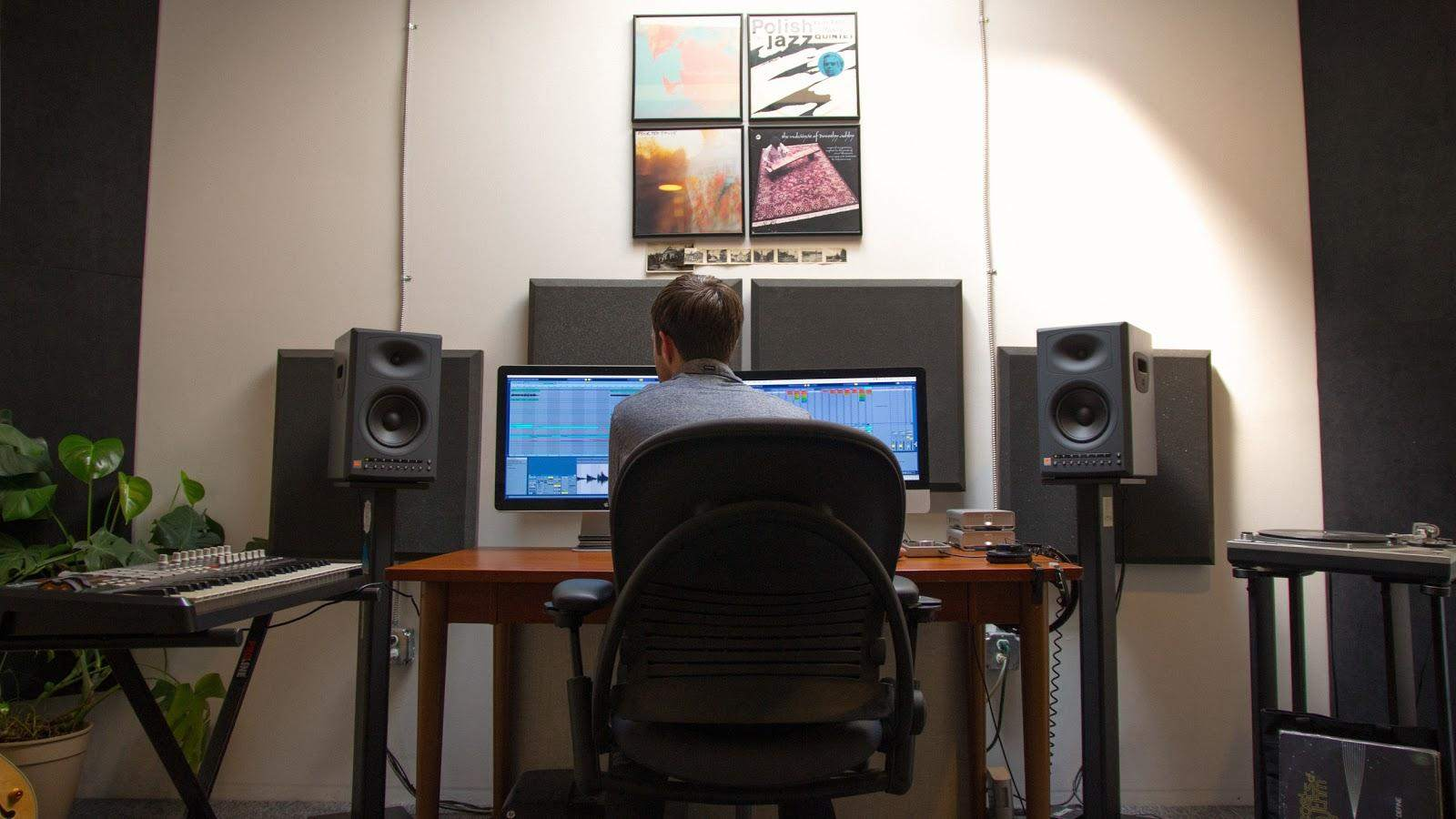 Connor Moore at work in his sound design studio.