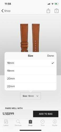 A screenshot of size options on the Hodinkee app