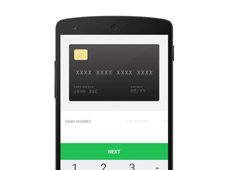 A screenshot of a credit card on mobile