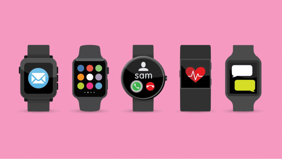 Vector graphics of five different types of watch wearable devices