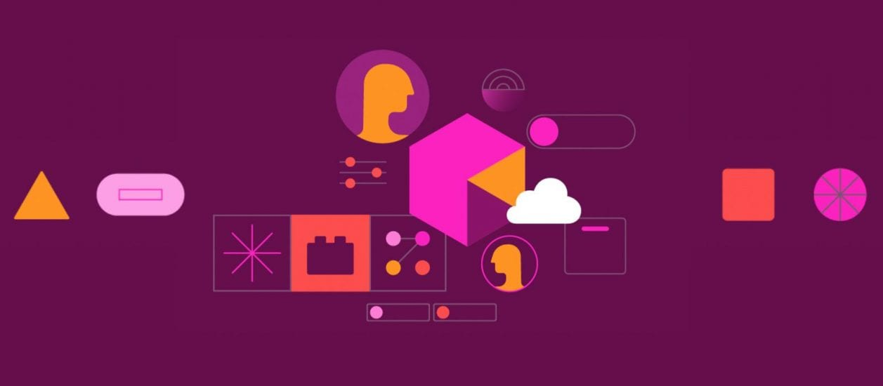 Purple background and colored shapes creating a system