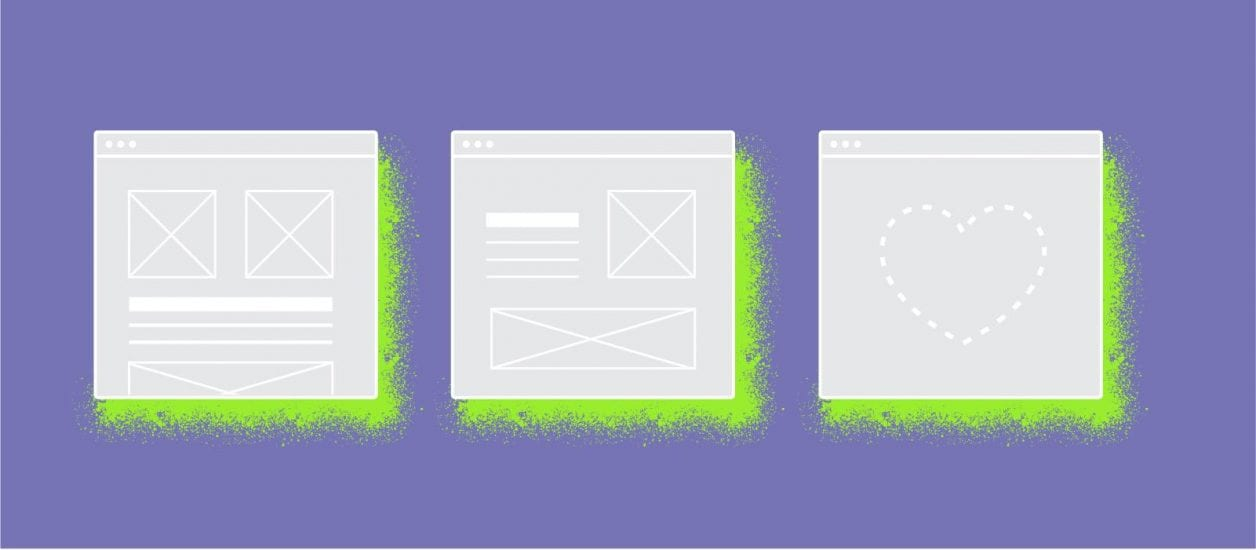purple background with website wireframes