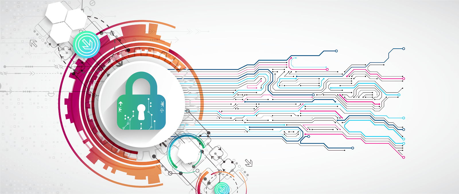 An illustration depicting the role of security in data and technology; a secure lock icon overlays graphics of circuitry and data.