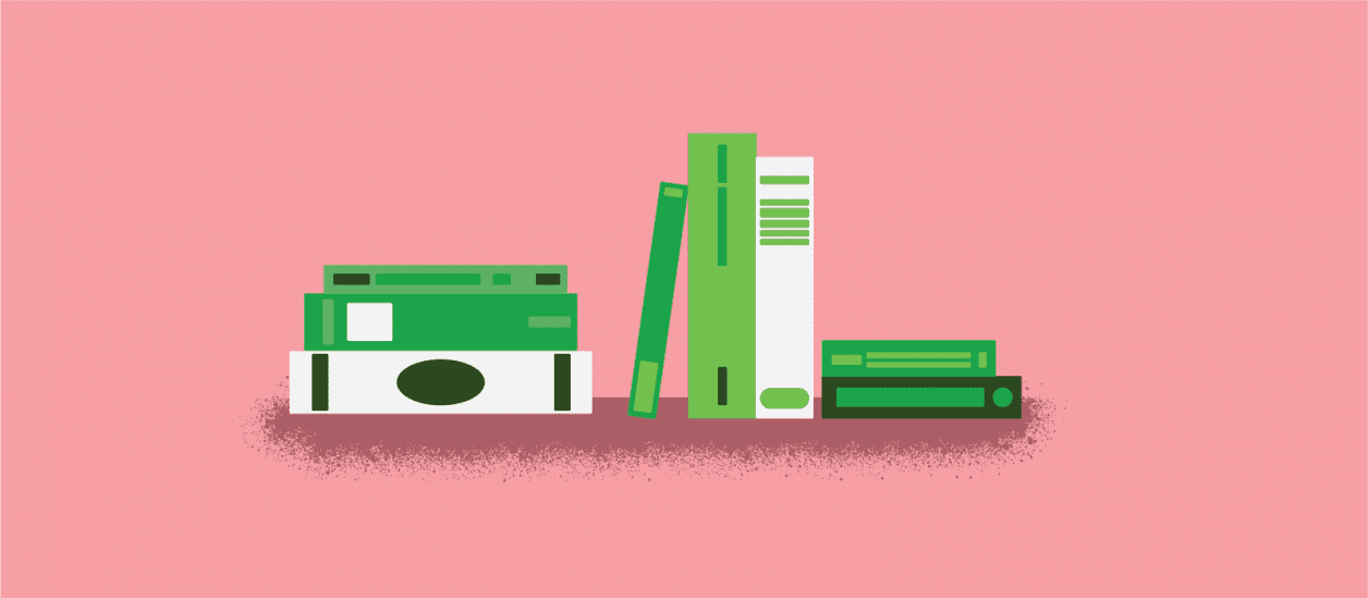 Illustration with a pink background and green books