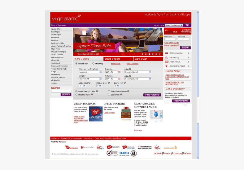 One of the first iterations of Virgin Atlantic's website homepage.