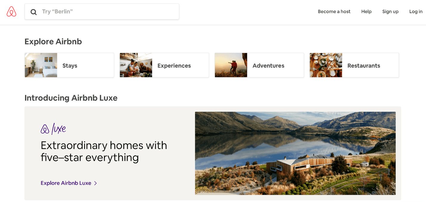 A screenshot of Airbnb homepage