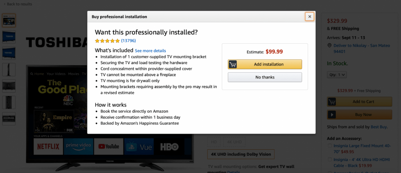 A screenshot of an installation purchase on Amazon