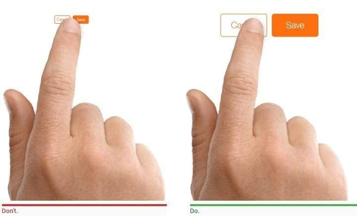 Two hands showing touch target size