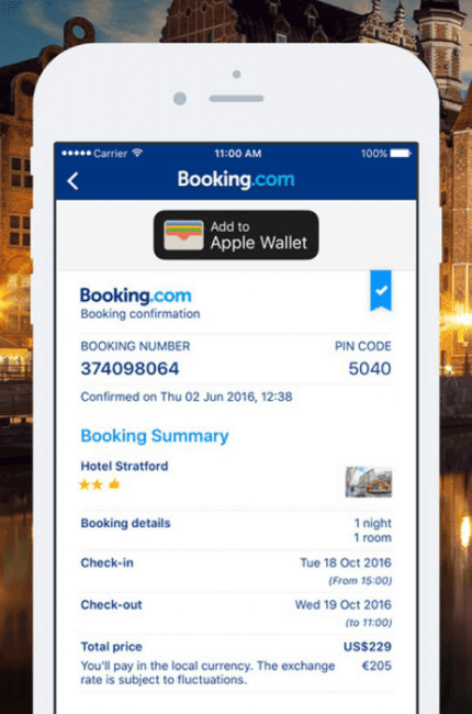 Confirmation screen in Booking.com