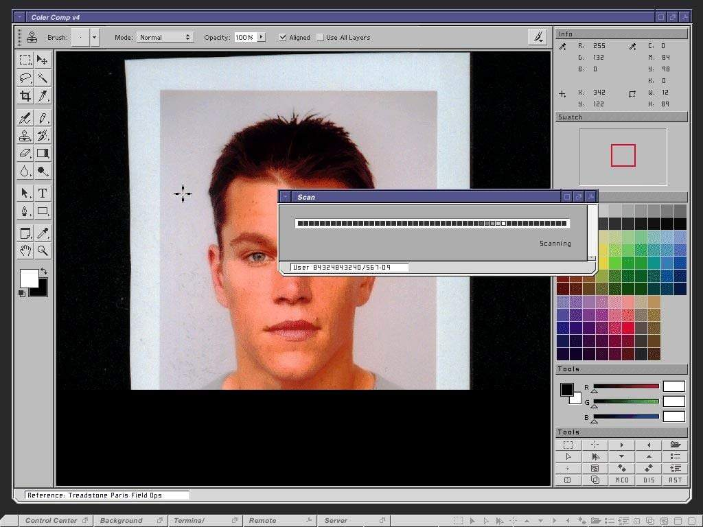 FUI from 2001's The Bourne Identity. Designer Mark Coleran said they modelled the UI off the Windows operating system, to make it familiar even though it present fictional technology.