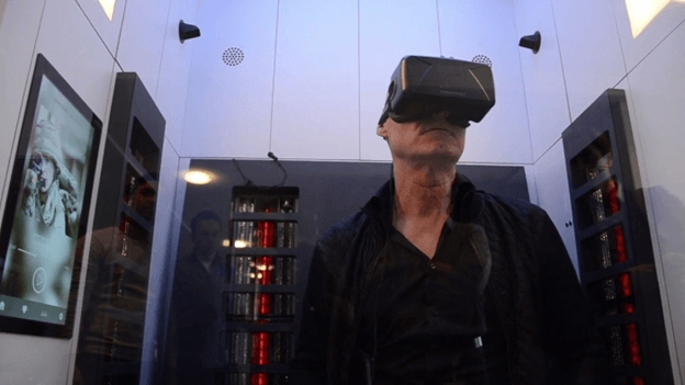 Elderly person using virtual reality