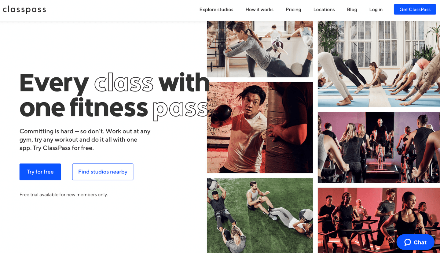 A screenshot of classpass homepage