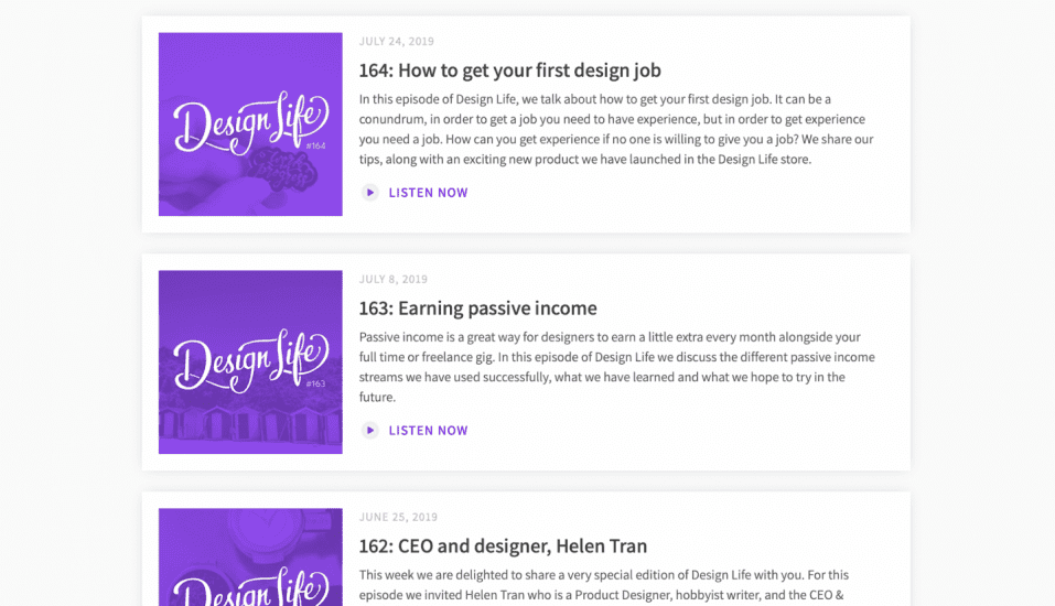 Three sample descriptions of podcasts from Design Life