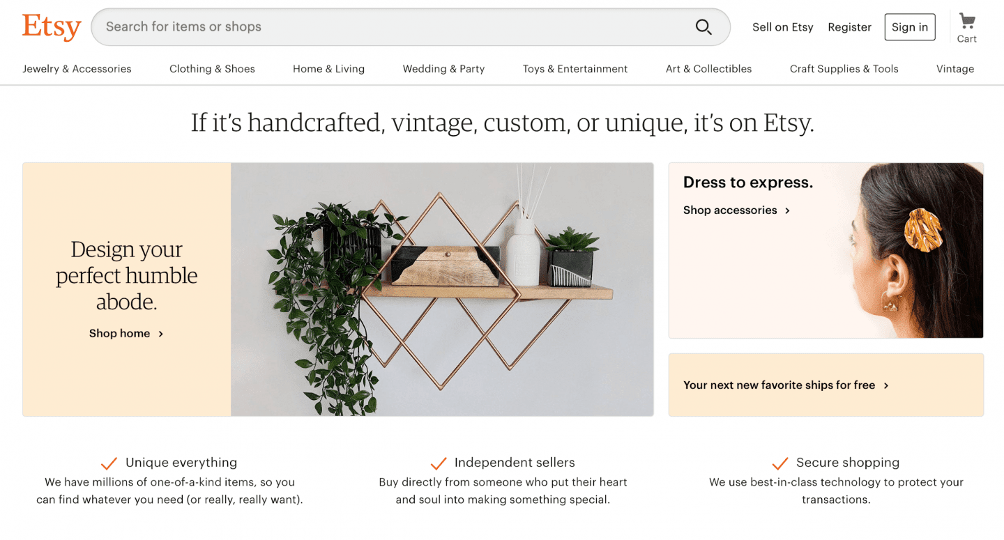 A screenshot of Etsy homepage
