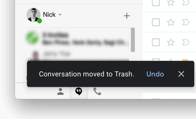 A sceenshot of a Google Hangouts chat moving to trash